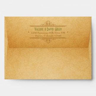 Vintage Brown Green A7 Return Address Envelope