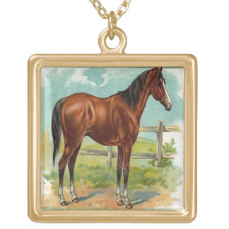 Vintage, Brown Horse Gold Plated Necklace