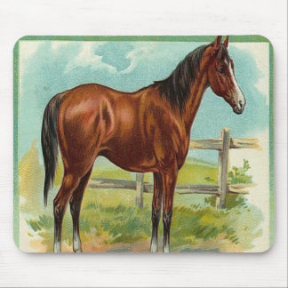 Vintage, Brown Horse Mouse Pad