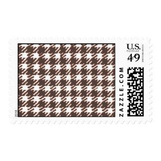Vintage brown houndstooth postage stamp