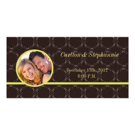Vintage Brown/invitación verde de la foto del boda Tarjetas Fotográficas Personalizadas