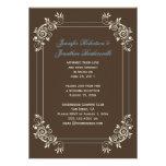 Vintage Brown Ivory Blue Swirls Post Wedding Announcement
