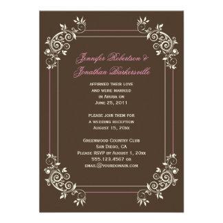 Vintage Brown Ivory Pink Swirls Post Wedding Custom Invitation
