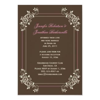 Vintage Brown Ivory Pink Swirls Post Wedding 5x7 Paper Invitation Card