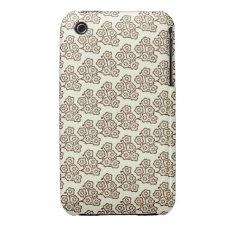 vintage brown japanese cherry blossoms pattern Case-Mate iPhone 3 case