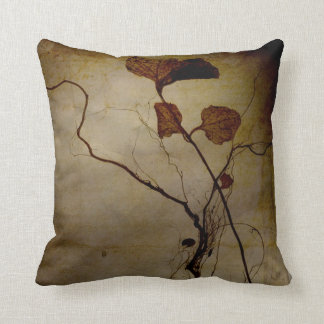 Vintage Brown Leaf Root Throw Pillow