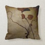 Vintage Brown Leaf Root Throw Pillow