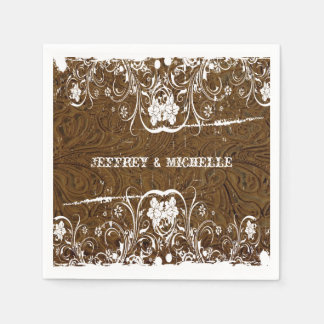Vintage Brown Leather and Lace Personalized Standard Cocktail Napkin
