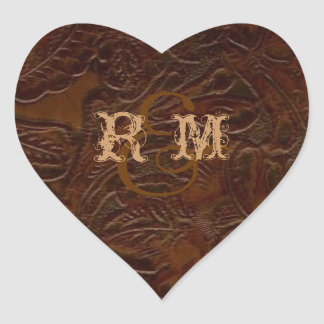 vintage brown leather cowboy boots country wedding heart sticker