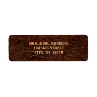 vintage brown leather cowboy boots country wedding label