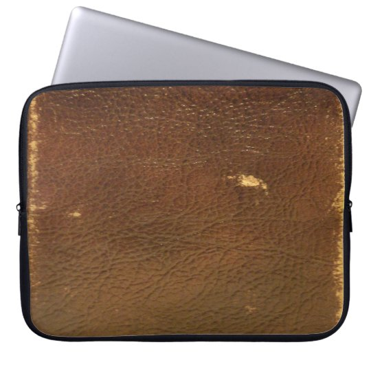 Vintage Brown Leather faux Computer Sleeve