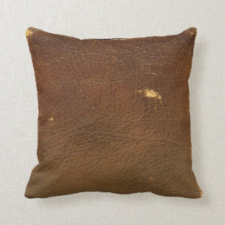 Vintage Brown Leather faux Throw Pillow