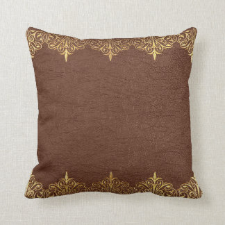Vintage Brown Leather Gold Frame Throw Pillow