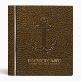 Vintage Brown Leather, Nautical Anchor Gold Accent Binder