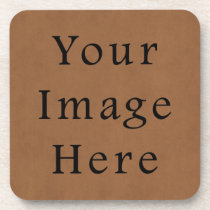 Vintage Brown Leather Parchment Paper Background Coaster