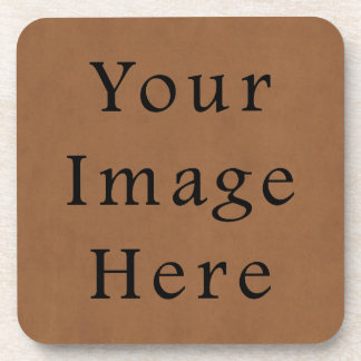 Vintage Brown Leather Parchment Paper Background Coaster