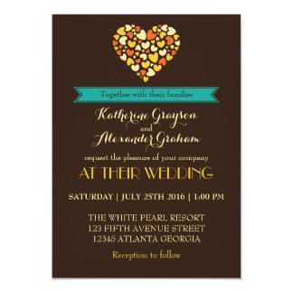 Vintage Brown Love and Heart Wedding Invitation