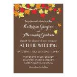 """Vintage Brown Maple Leaves Fall Wedding Invitation 5"""" X 7"""" Invitation Card"""