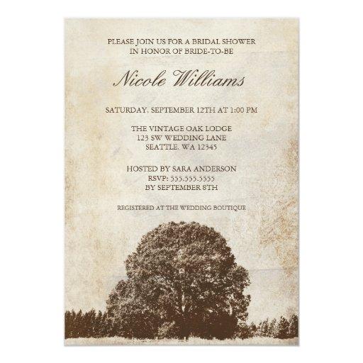 Vintage Brown Oak Tree Bridal Shower Invitation