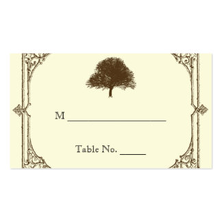 Vintage Brown Oak Tree Cream Wedding Place Cards Double-Sided Standard Business Cards (Pack Of 100)
