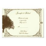 Vintage Brown Oak Tree on Cream Response Card Custom Invitations