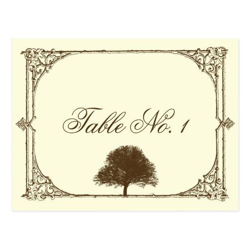 Vintage Brown Oak Tree on Cream Table Number Postcard