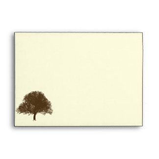 Vintage Brown Oak Tree on Cream Wedding Envelope