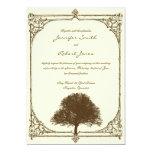 Vintage Brown Oak Tree on Cream Wedding Invitation
