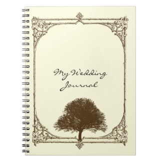 Vintage Brown Oak Tree on Cream Wedding Journal Spiral Note Book
