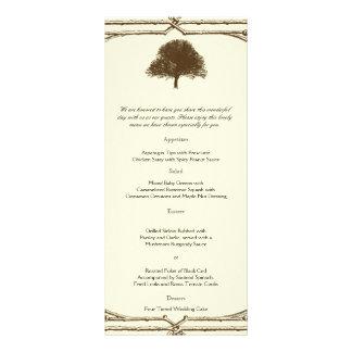 Vintage Brown Oak Tree on Cream Wedding Menu Full Color Rack Card