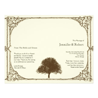 Vintage Brown Oak Tree on Cream Wedding Program