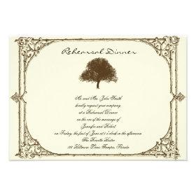 Vintage Brown Oak Tree on Cream Wedding Rehearsal Invitation