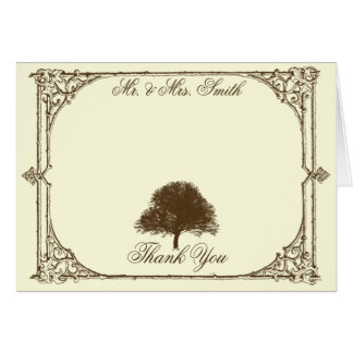 Vintage Brown Oak Tree on Cream Wedding Thank You Card
