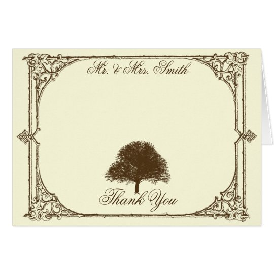 Vintage Brown Oak Tree on Cream Wedding Thank You Card