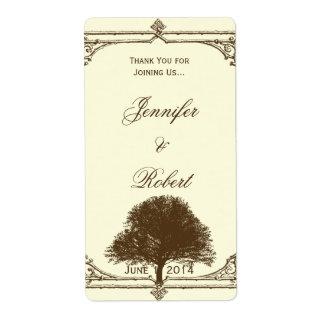 Vintage Brown Oak Tree on Cream Wine Label