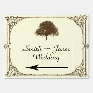 Vintage Brown Oak Tree Wedding Direction Sign