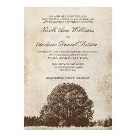 Vintage Brown Oak Tree Wedding Invitations Invitations
