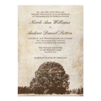 Vintage Brown Oak Tree Wedding Invite