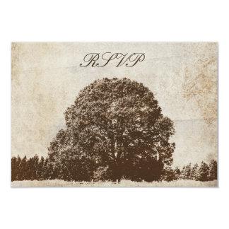 Vintage Brown Oak Tree Wedding Response Card
