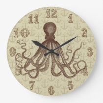 Vintage Brown Octopus Anchors Nautical Beach House Large Clock