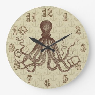 Beach Themed Vintage Brown Octopus Anchors Nautical Beach House Large Clock