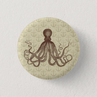 Vintage Brown Octopus with Anchors Button