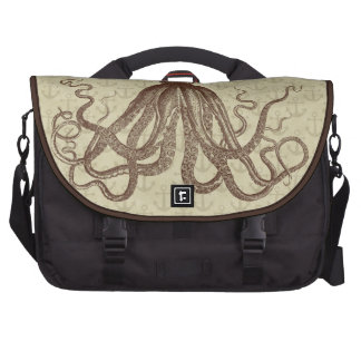 Vintage Brown Octopus with Anchors Laptop Computer Bag