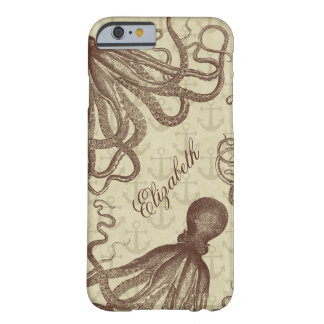 Vintage Brown Octopus with Anchors Personalized Barely There iPhone 6 Case