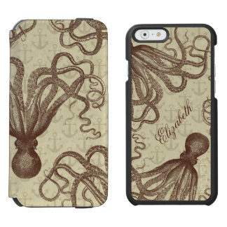 Vintage Brown Octopus with Anchors Personalized iPhone 6/6s Wallet Case
