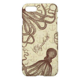 Vintage Brown Octopus with Anchors Personalized iPhone 7 Case