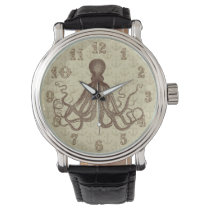 Vintage Brown Octopus with Anchors Wrist Watch