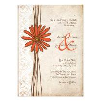 Vintage Brown & Orange Daisy Wedding Invitation