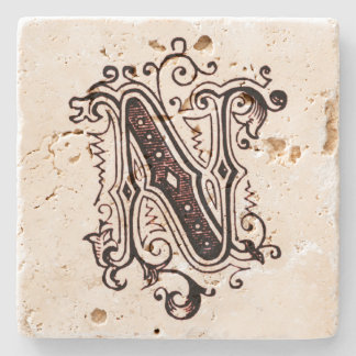 Vintage Brown Ornamental 'N' Stone Coaster