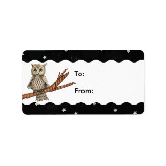 Vintage Brown Owl Necklace Crescent Moon Stars Address Label